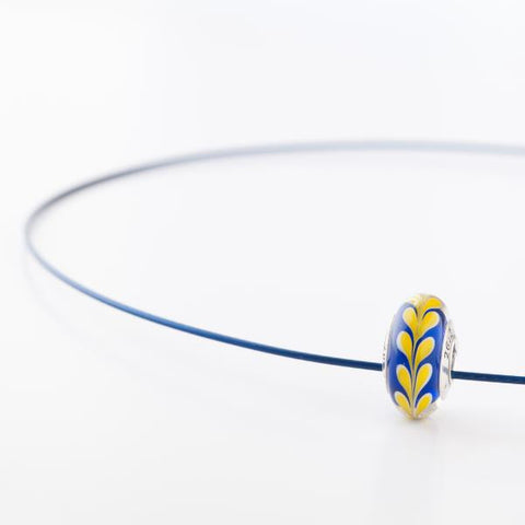 Boston Strong bead on blue cable necklace