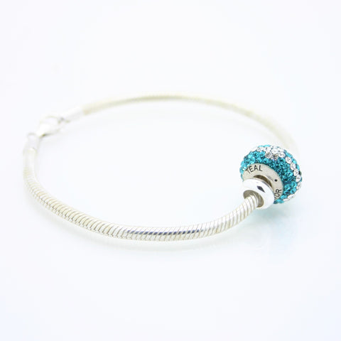 Teal Warrior bead on Sterling Silver bracelet
