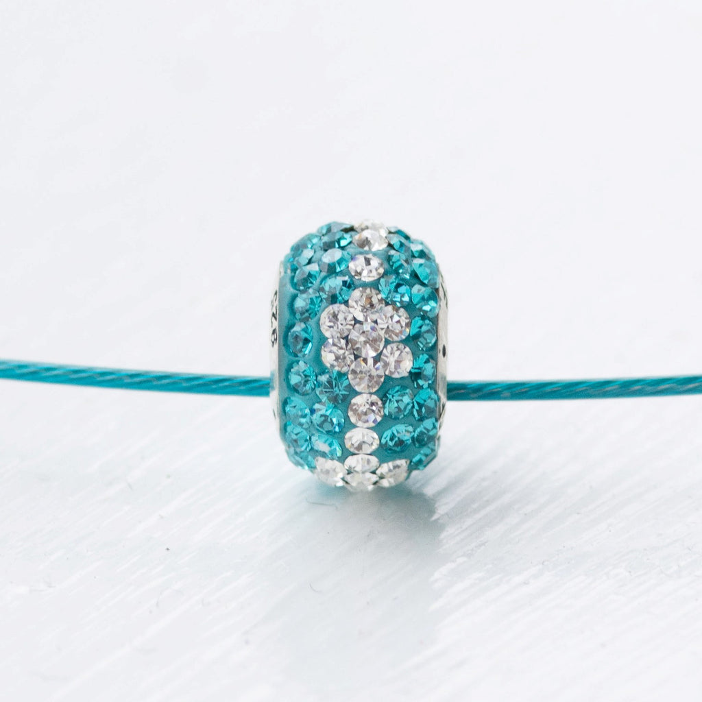 Teal Warrior Bead on Cable Necklace
