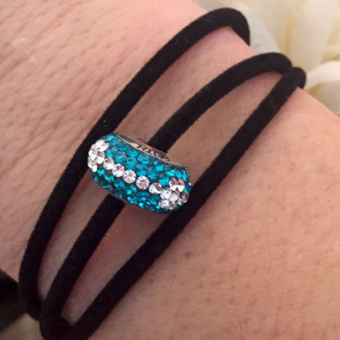 Teal Warrior on Black Velvet Wrap Bracelet
