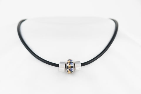 Autoimmine Warrior bead on black Sporty Necklace