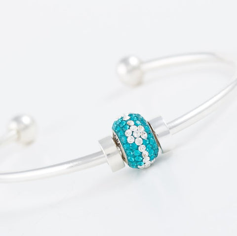 Teal Warrior Bead on our Bangle Bracelet
