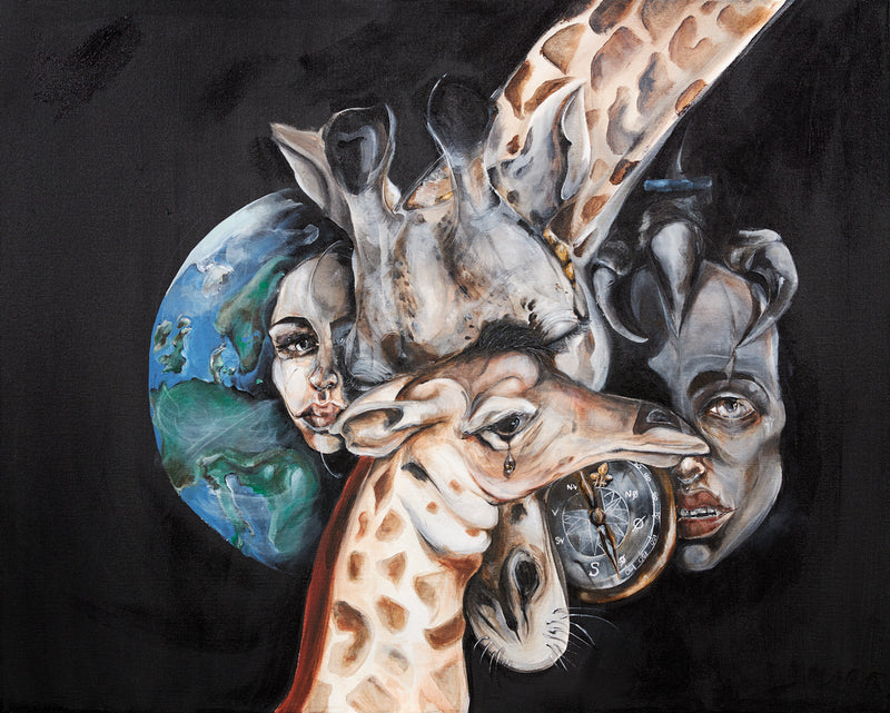 Art print of giraffe by Anne Ditte