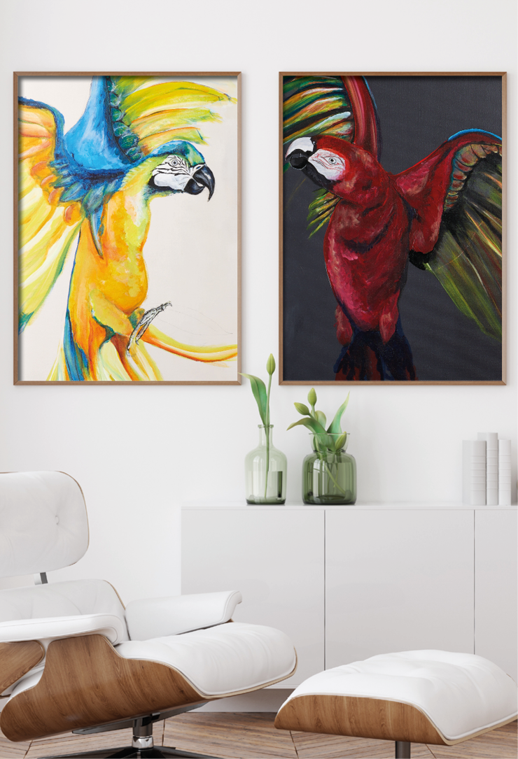 Art prints of a yellow and red parrot by Anne Ditte.