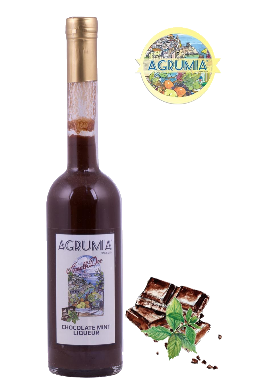 Agrumia liqueur bottle of chocolate mint cream flavour with representative chocolate and mint at its side