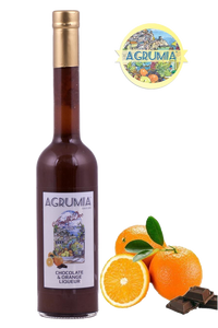 Agrumia liqueur bottle of chocolate & orange flavour with representative oranges and chocolate at its side