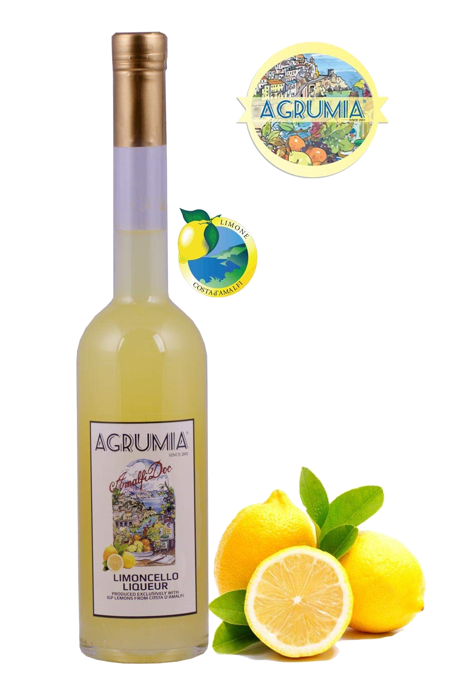 Agrumia liqueur bottle of limoncello flavour with representative lemons at its side