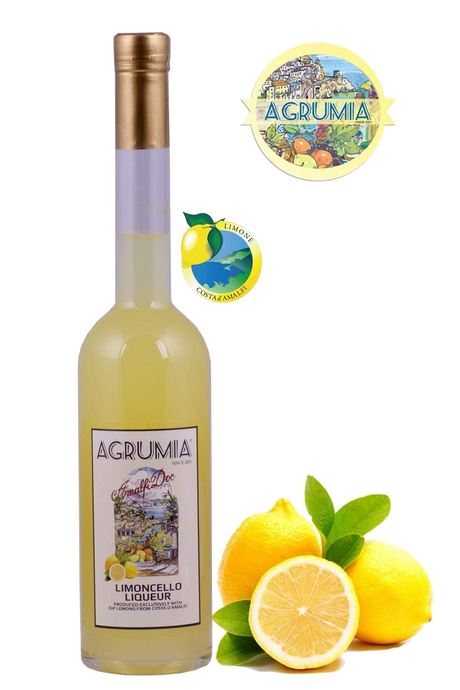 Agrumia liqueur bottle of cream of limoncello flavour with representative lemons at its side