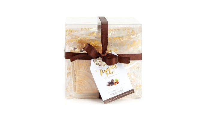 D'Oro Bites Box with ferratelle or pizzelle filled with chocolate and hazelnut spread