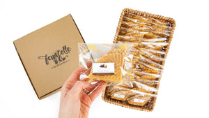 Packets of ferratelle or pizzelle filled with chocolate and hazelnut spread in a basket