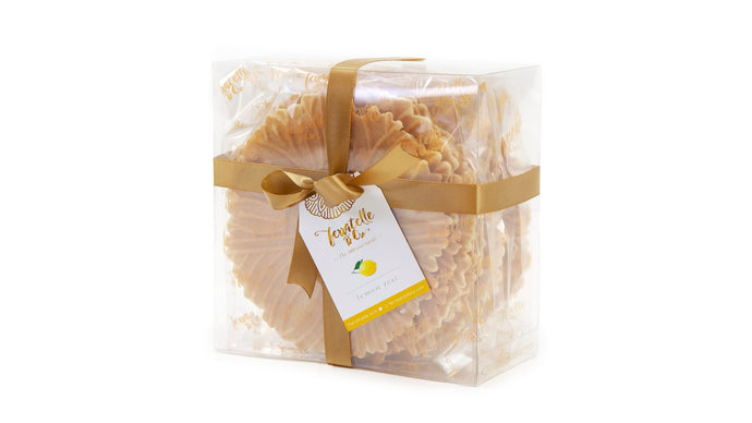 Ferratelle or pizzelle box of lemon flavour