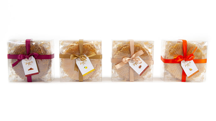D'Oro Collection including four boxes of ferratelle or pizzelle of various flavours