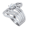 1.82 Ct GH I1-I2 Gorgeous White Diamond Solitare Set Inside Beautiful Rows Of Sparkling Swirls Of Diamonds Set In A Real Band in 10 kt Gold