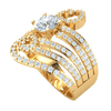 1.82 Ctw Gorgeous White Diamond Solitare Set Inside Beautiful Rows Of Sparkling Swirls Of Diamonds Set In A Real Band in IJ SI2 14 kt Gold