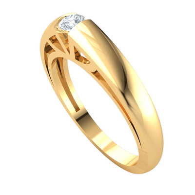 0.11 Ctw Beautiful White Diamond Solitare Inlaid In Artistic Detailed Real Band in GH SI2 14 kt Gold