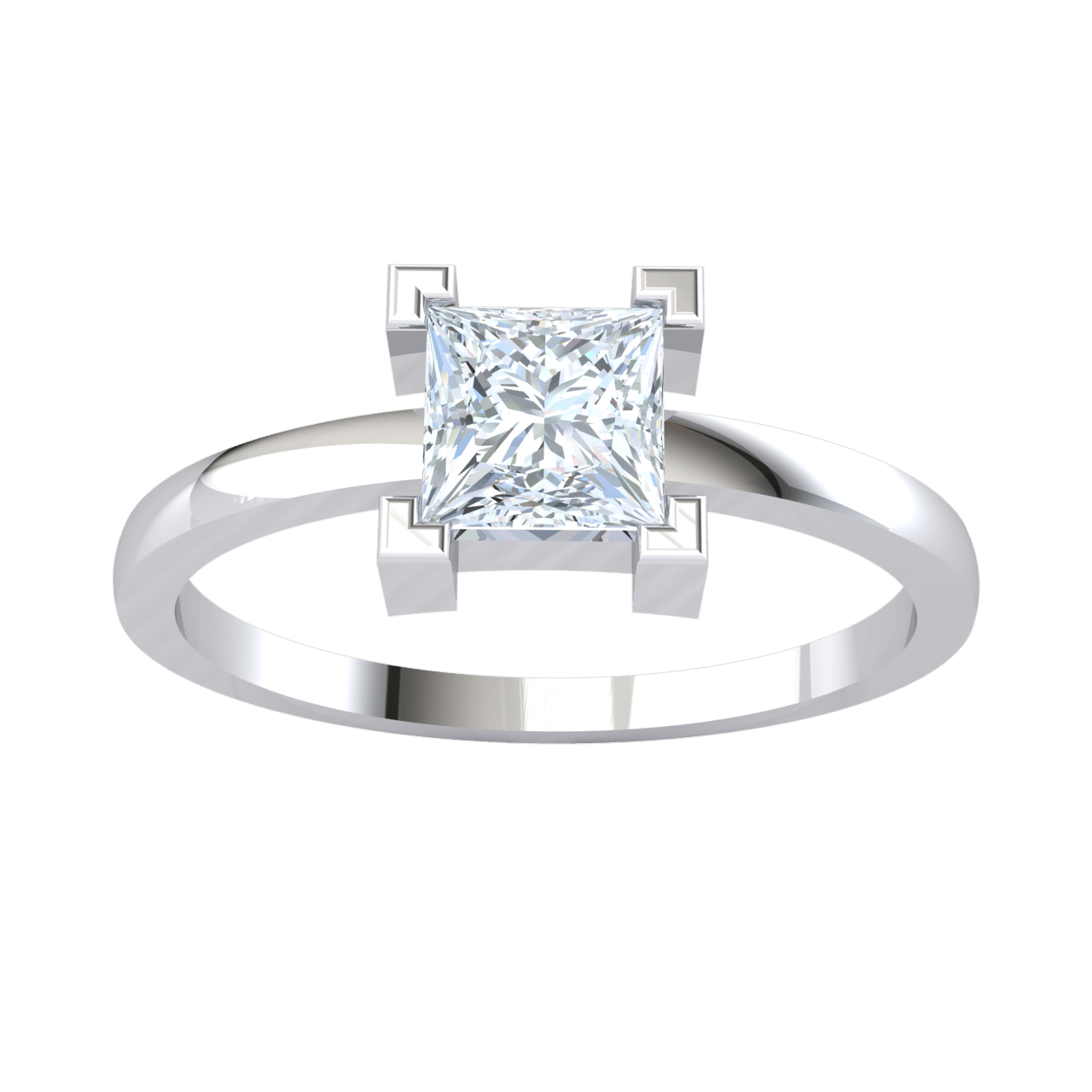 0.57 Ct GH SI2 Radiant Square Shaped White Diamond Inlaid In A Real Engagement Ring in 14 kt Gold