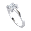 0.57 Ctw Radiant Square Shaped White Diamond Inlaid In A Real Engagement Ring in J SI2 10 kt Gold