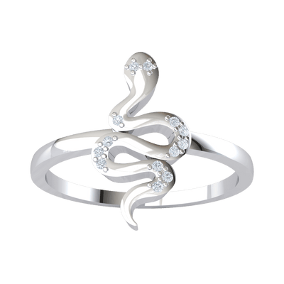 0.05 Ct GH I1-I2 One Of A KInd Real Snake Ring Beautifully Swirled With White Diamond Accents in .925 Sterling Silver