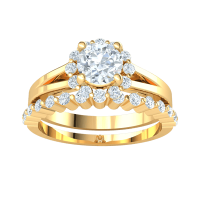 0.95 Ctw Stunning White Diamond Solitare Surrounded By Gorgeous Diamonds Inlaid In Real With A Beautiful Diamond Band in IJ SI2 14 kt Gold