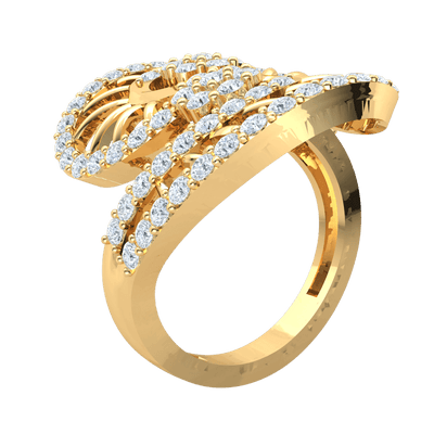 Glamerous Real Ring Illuminated By Sparkling White Diamonds In A Beautiful Fan Display 1.34 Ct IJ SI2 and 14 kt Gold