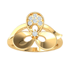 0.10 Ctw Gorgeous 3 Leaf Real Ring Emblazzend With Beautiful White Diamonds in JK I1 10 kt Gold