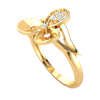 0.10 Ct GH I1 Gorgeous 3 Leaf Real Ring Emblazzend With Beautiful White Diamonds in 14 kt Gold