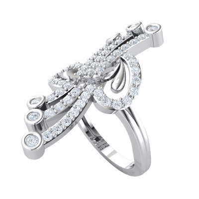 0.75 Ct JK I1 Ravishing Real Ring With 3 Rows Of Sparkling White Diamonds Seperating Beautiful Diamond Horseshoes in 10 kt Gold