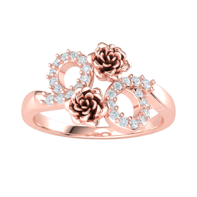 0.19 Ct JK I1 Heart Stopping Ring Made Of Real Roses With Beautiful White Diamond Accents in 10 kt Gold