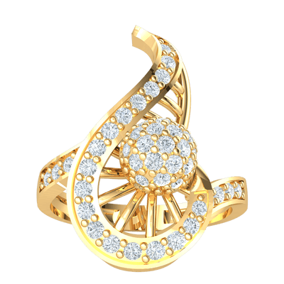 0.63 Ctw One Of A Kind Real Ring With White Diamond Encrusted Centerpiece With Beautiful Diamond Accents in GH I1 14 kt Gold