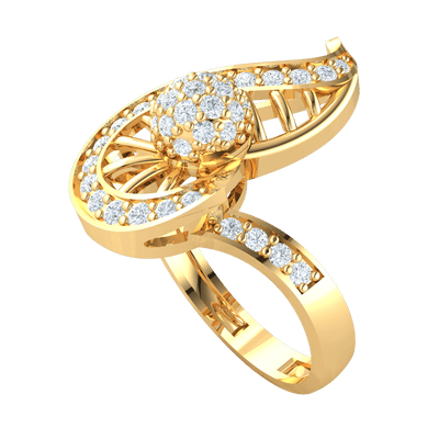 One Of A Kind Real Ring With White Diamond Encrusted Centerpiece With Beautiful Diamond Accents 0.63 Ct JK I1 and 10 kt Gold