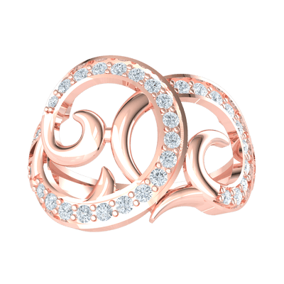 0.47 Ct GH I1 Beautiful Real Ring Whimsically Swirled And Encrusted With Sparkling White Diamonds in 14 kt Gold