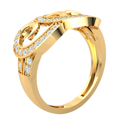 0.47 Ct JK I1 Beautiful Real Ring Whimsically Swirled And Encrusted With Sparkling White Diamonds in 10 kt Gold