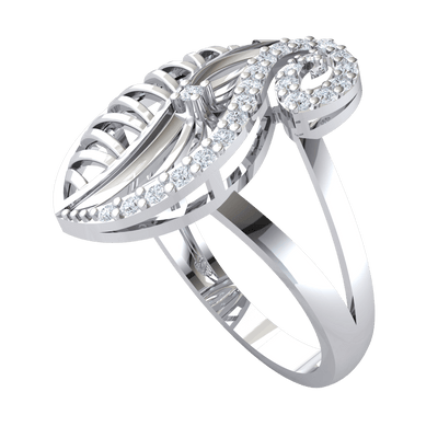 0.23 Ct GH I1 Absolutely Gorgeous Real Leaf Encrusted Ring With Sparkling White Diamonds in 14 kt Gold