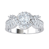 Stunning White Diamond Solitare Surrounded By Sparkling Diamonds Set In Real Diamond Filled Band 1.05 Ct GH I1 and 14 kt Gold