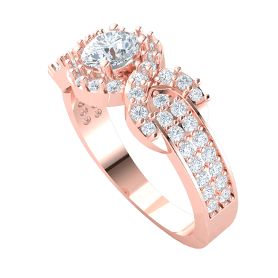 1.05 Ct JK I1 Stunning White Diamond Solitare Surrounded By Sparkling Diamonds Set In Real Diamond Filled Band in 10 kt Gold