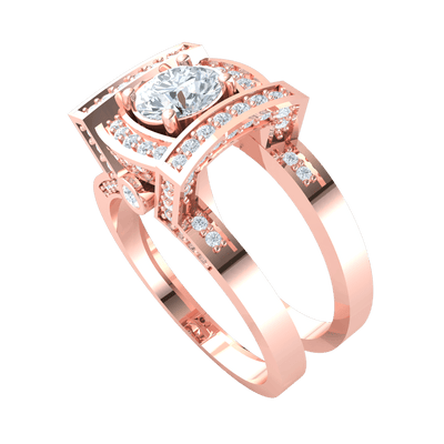 1.52 Ctw Exquisite White Diamond Solitare Inside A Diamond Filled Square With Beautifully Detailed Real Double Band in IJ SI2 14 kt Gold
