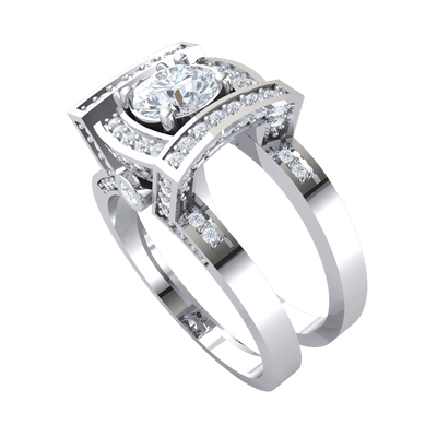 Exquisite White Diamond Solitare Inside A Diamond Filled Square With Beautifully Detailed Real Double Band 1.52 Ct J SI2 and 10 kt Gold