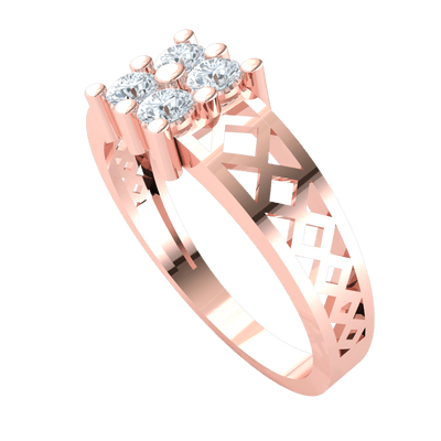 0.40 Ctw Ravishing 4 Stone White Diamonds Set In A Beautifully Detailed Real Band in J SI2 10 kt Gold