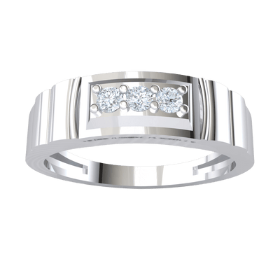 Gorgeous 3 Stone White Diamond Set In Real With Beautiful Band Detailing 0.10 Ct GH I1 and 14 kt Gold