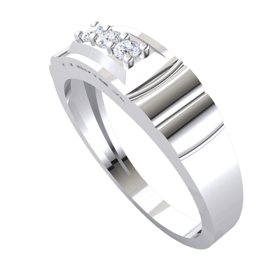 0.10 Ct JK I1 Gorgeous 3 Stone White Diamond Set In Real With Beautiful Band Detailing in 10 kt Gold