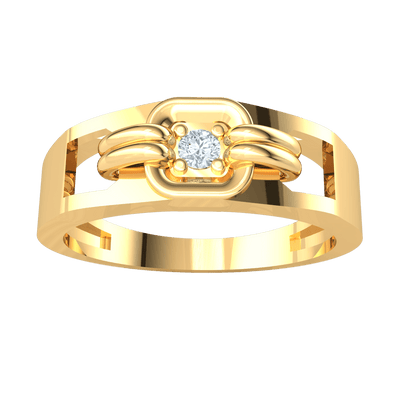 0.05 Ct GH I1 Beautiful White Diamond Solitare Set In A Square Real Plate With Extra Band Detailing in 14 kt Gold