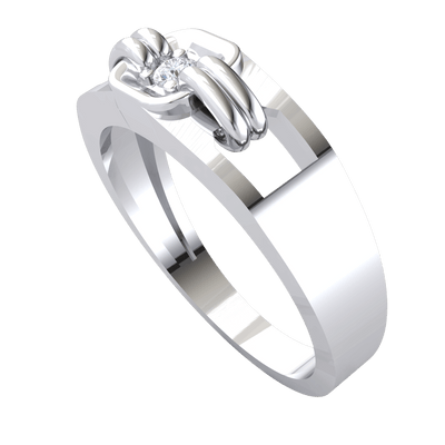 Beautiful White Diamond Solitare Set In A Square Real Plate With Extra Band Detailing 0.05 Ct GH I1-I2 and .925 Sterling Silver