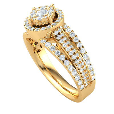0.90 Ctw Ravishing White Diamond Solitare Surrounded By Rows Of Diamonds With A Triple Real Band Each Sparkling With Diamonds in GH I1-I2 10 kt Gold