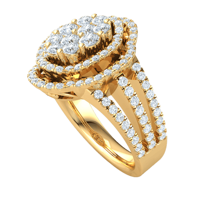 1.55 Ct IJ SI2 Absolutely Exquisite Real Ring With An Outstanding Array Of Sparkling White Diamond Centerpiece With Rows Of Diamonds in 14 kt Gold