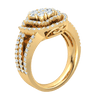 1.55 Ctw Absolutely Exquisite Real Ring With An Outstanding Array Of Sparkling White Diamond Centerpiece With Rows Of Diamonds in GH I1-I2 10 kt Gold