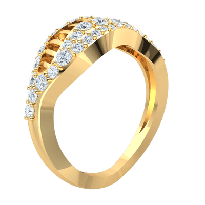0.70 Ct JK I1 Truely Unique Real Ring With An Outstanding Center And Beautiful Arrangement Of White Diamonds in 10 kt Gold