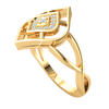 0.11 Ctw Classic And Timeless Real Ring With Beautiful Centerpiece And An Array Of White Diamonds in IJ SI2 14 kt Gold