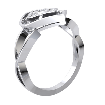 Classic And Timeless Real Ring With Beautiful Centerpiece And An Array Of White Diamonds 0.11 Ct GH I1-I2 and 10 kt Gold