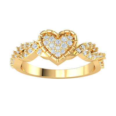 0.34 Ct GH I1 Absolutely Gorgeous Heart Shaped Real Ring With Sparkling White Diamonds Throughout in 14 kt Gold