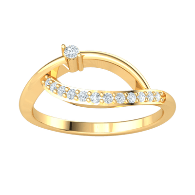 0.13 Ct JK I1 Perfectly Twisted Real Ring Has A Wonderful Arrangement Of White Diamonds in 10 kt Gold